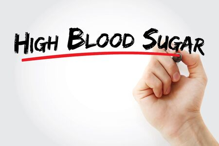 High blood sugar text with marker, concept background