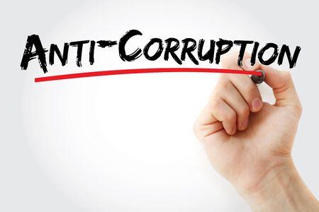 Anti-Corruption text with marker, concept background Banco de Imagens