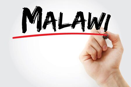 Malawi text with marker, concept background Stok Fotoğraf