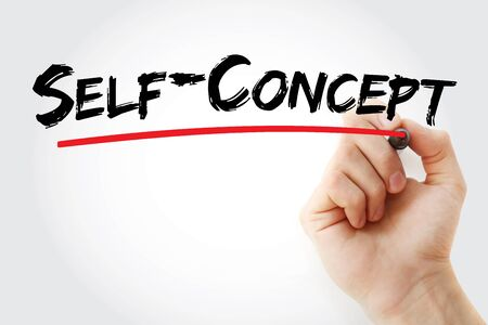 Self - concept text with marker, concept background