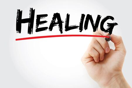 Healing text with marker, concept background