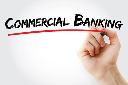 Commercial Banking text with marker, concept background