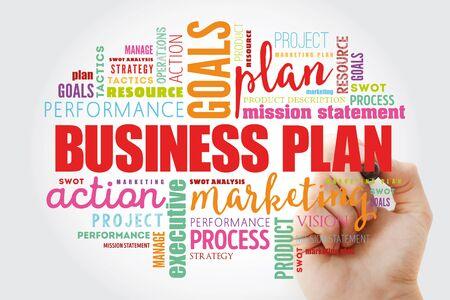 Business plan word cloud collage, business concept background Banco de Imagens