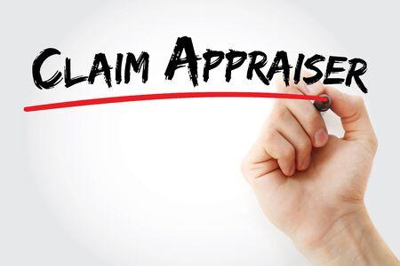 Claim appraiser text with marker, concept background Banque d'images