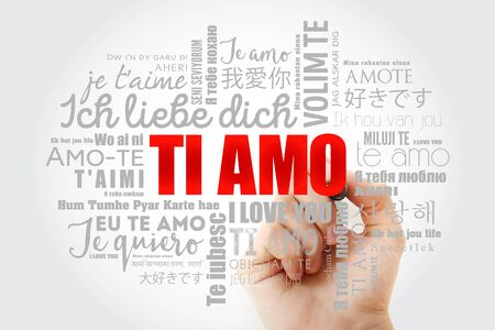Ti amo (I Love You in Italian) in different languages of the world, word cloud background Stock fotó