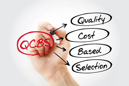 Hand writing QCBS - Quality and Cost Based Selection with marker, acronym business concept