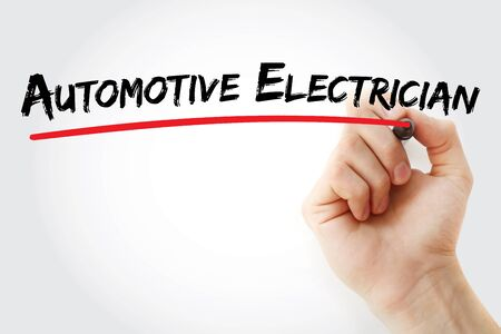 Automotive electrician text with marker, concept background