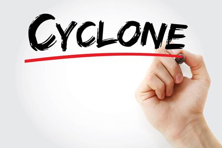 Cyclone text with marker, concept background