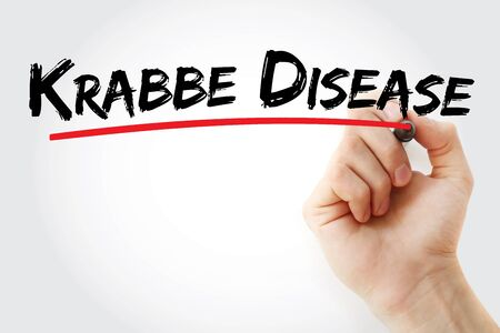 Krabbe disease text with marker, concept background
