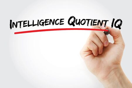 Intelligence Quotient IQ text with marker, concept background