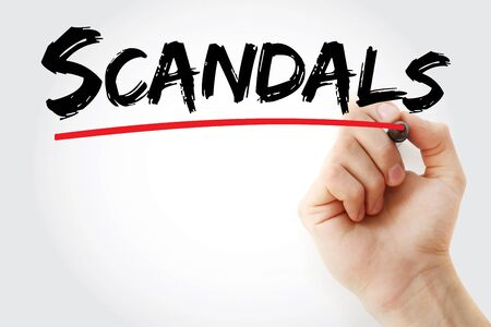 Scandals text with marker, concept background