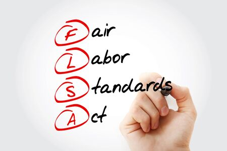 flsa - fair labor standards act acronym, business concept background
