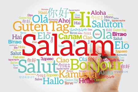 SALAAM (Hello Greeting in Persian,Farsi) word cloud in different languages of the world with marker