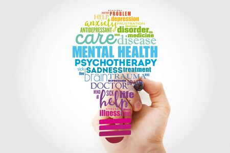 Mental health bulb word cloud collage with marker, health concept background