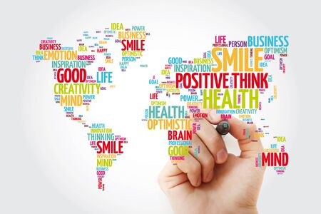 Positive thinking word cloud in shape of world map, creative concept background Stock Photo