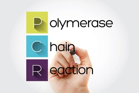 PCR - Polymerase Chain Reaction acronym with marker, medical concept background