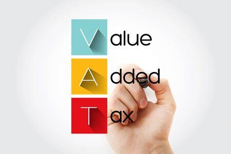VAT - Value Added Tax acronym, business concept background Standard-Bild