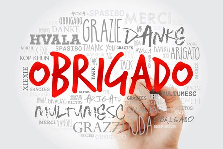 Obrigado (Thank You in Portuguese) Word Cloud with marker in many languages of the world