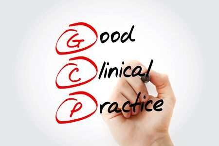 GCP, Good Clinical Practice acronym, business concept background