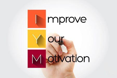 IYM - Improve Your Motivation acronym with marker, concept background 版權商用圖片