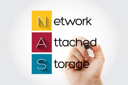 NAS - Network Attached Storage acronym, technology concept background