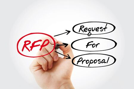 RFP - Request For Proposal acronym with marker, business concept background 스톡 콘텐츠