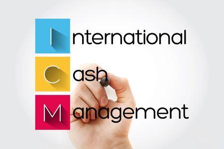 ICM - International Cash Management acronym with marker, business concept background