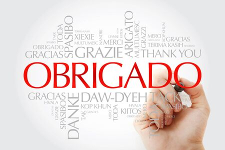 Obrigado (Thank You in Portuguese) Word Cloud in many languages with marker