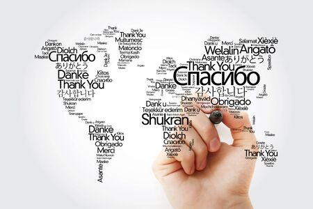 Thank You in many languages World Map in Typography word cloud with marker, multilingual for education or thanksgiving day