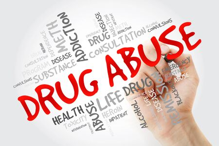Drug Abuse word cloud with marker, health concept background