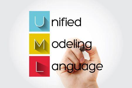 UML - Unified Modeling Language acronym with marker, technology concept background