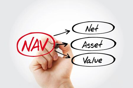 NAV - Net Asset Value acronym with marker, business concept background Фото со стока