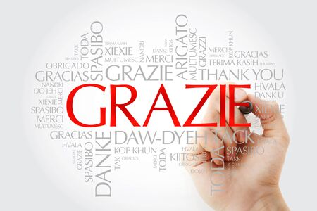 Grazie (Thank You in Italian) word cloud background in different languages with marker