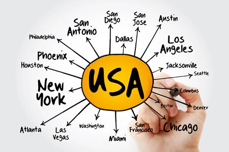 USA cities mind map flowchart with marker, travel business concept for presentations and reports