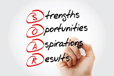 SOAR - Strengths, Opportunities, Aspirations, Results acronym, business concept background Фото со стока - 140115337