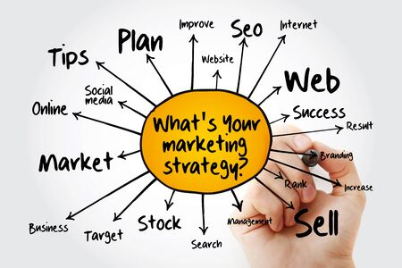 What's Your Marketing Strategy mind map, business concept for presentations and reports Stock Photo