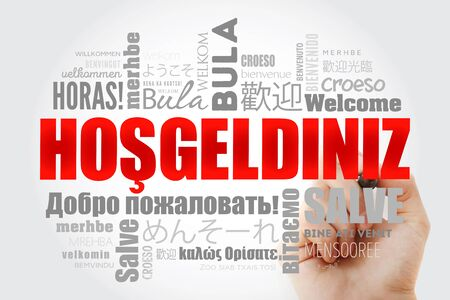 Hosgeldiniz (Welcome in Turkish) word cloud with marker in different languages