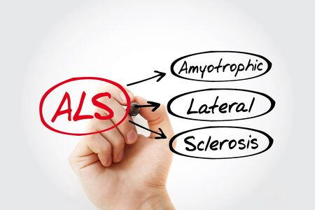 ALS - Amyotrophic Lateral Sclerosis acronym, health concept background Archivio Fotografico