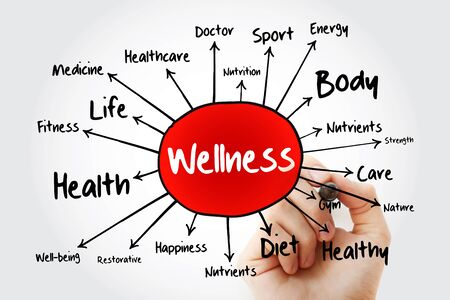 WELLNESS mind map, business concept for presentations and reports Stock Photo