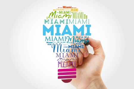 Miami light bulb word cloud, travel concept background