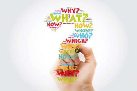 Question mark - Hand writing Questions whose answers are considered basic in information gathering or problem solving, word cloud background