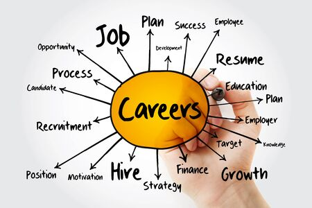 CAREERS mind map flowchart, business concept for presentations and reports