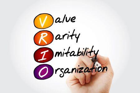 VRIO - Value, Rarity, Imitability, Organization acronym, concept background Фото со стока - 140116335