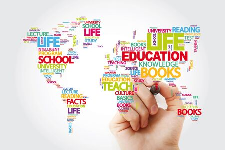 Education word cloud in shape of world map, concept background Zdjęcie Seryjne