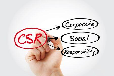 CSR - Corporate Social Responsibility acronym, business concept background
