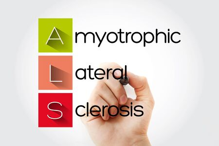 ALS - Amyotrophic Lateral Sclerosis acronym with marker, health concept background