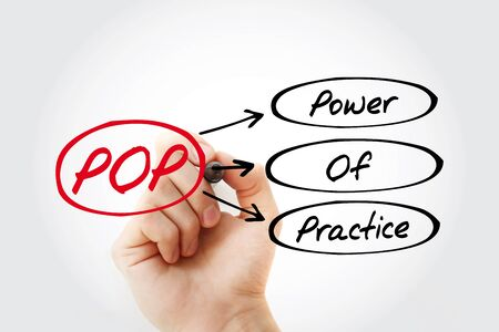 POP - Power Of Practice acronym, business concept background Фото со стока