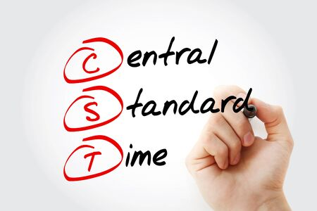 CST - Central Standard Time acronym, concept background