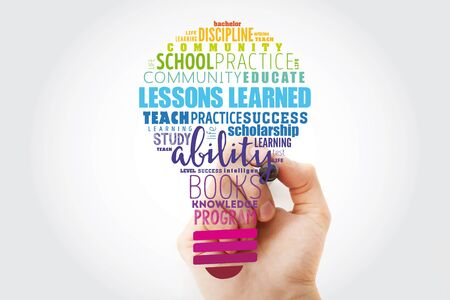 Lessons Learned light bulb word cloud collage, education concept background Banque d'images