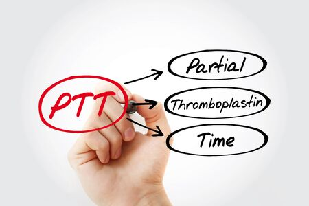 PTT - Partial Thromboplastin Time acronym with marker, concept background